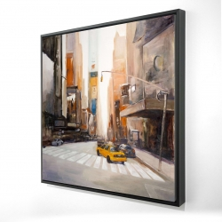 Framed 36 x 36 - 3D - Calm street with taxi