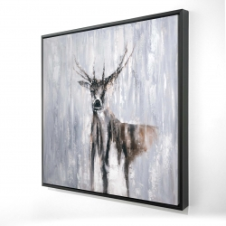 Framed 24 x 24 - 3D - Winter abstract deer