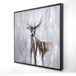 Framed 24 x 24 - 3D - Winter abstract deer