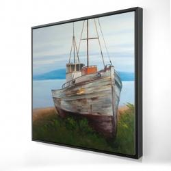 Framed 24 x 24 - 3D - Old abandoned boat
