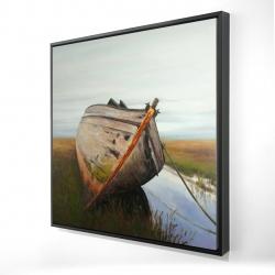 Framed 24 x 24 - 3D - Old abandoned boat in a swamp
