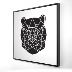 Framed 24 x 24 - 3D - Geometric bear head
