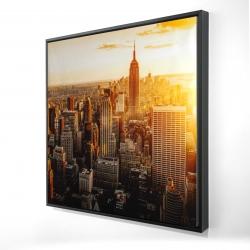 Framed 24 x 24 - 3D - New york city at sunset