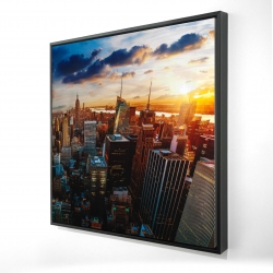 Framed 24 x 24 - 3D - City of new york by dawn