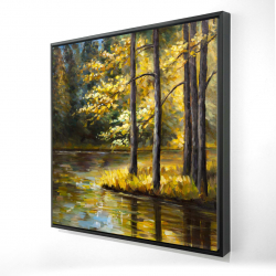 Framed 24 x 24 - 3D - Fall landscape by the water