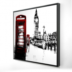 Framed 24 x 24 - 3D - Telephone box and big ben of london