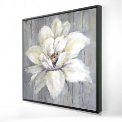 Framed 24 x 24 - 3D - White flower on wood