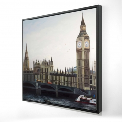 Framed 24 x 24 - 3D - Big ben clock elizabeth tower in london