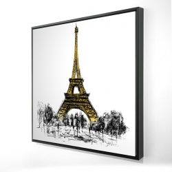 Framed 24 x 24 - 3D - Outline of eiffel tour