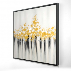 Framed 24 x 24 - 3D - Abstract gold flowers