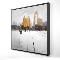 Framed 24 x 24 - 3D - Silhouettes walking towards the city