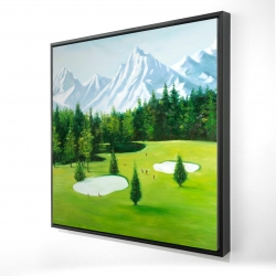 Framed 24 x 24 - 3D - Golf course with mountains view