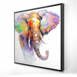 Framed 24 x 24 - 3D - Beautiful and colorful elephant