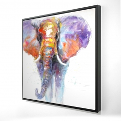 Framed 36 x 36 - 3D - Colorful walking elephant
