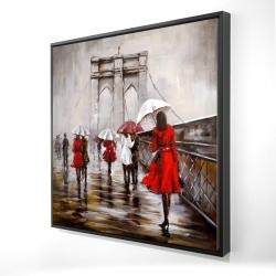 Framed 24 x 24 - 3D - Walk on the brooklyn bridge