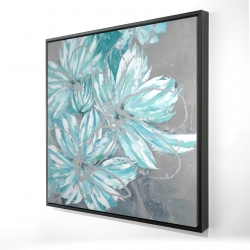 Framed 24 x 24 - 3D - Three little abstract blue flowers