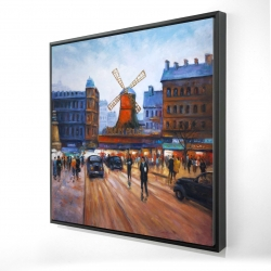 Framed 24 x 24 - 3D - Street scene to moulin rouge