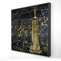 Framed 24 x 24 - 3D - Gold city blue print