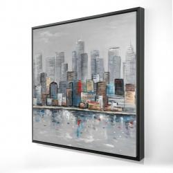 Framed 24 x 24 - 3D - Abstract city skyline