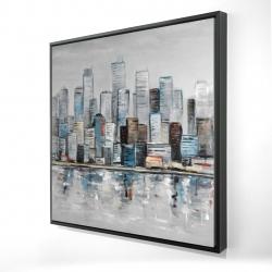 Framed 24 x 24 - 3D - Abstract urban skyline