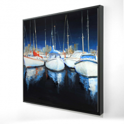 Framed 24 x 24 - 3D - Evening at the marina