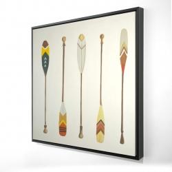 Framed 24 x 24 - 3D - Canoe paddles