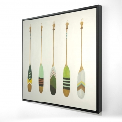 Framed 24 x 24 - 3D - Colorful nautical oars