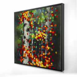 Framed 24 x 24 - 3D - Colorful dotted leaves birches