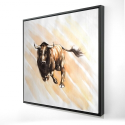 Framed 24 x 24 - 3D - Bull running watercolor