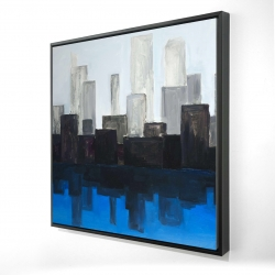 Framed 24 x 24 - 3D - Blue city