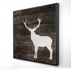 Framed 24 x 24 - 3D - Deer silhouette on wood