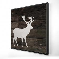 Framed 24 x 24 - 3D - Deer on wood background