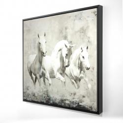 Framed 24 x 24 - 3D - Three white horses running