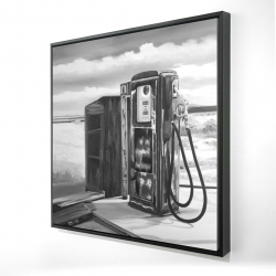 Framed 24 x 24 - 3D - Old gas pump