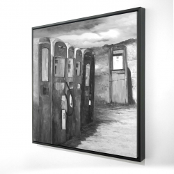 Framed 24 x 24 - 3D - Old gas pumps