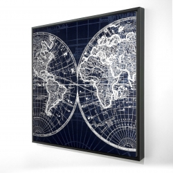 Framed 24 x 24 - 3D - World map blue print