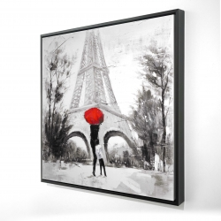 Framed 24 x 24 - 3D - Woman with her child in front of the eiffel tower