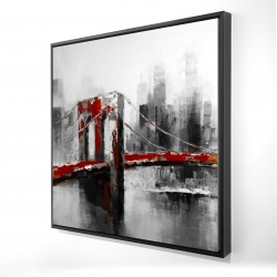 Framed 24 x 24 - 3D - Abstract and red brooklyn bridge