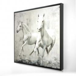 Framed 24 x 24 - 3D - Two white horses running