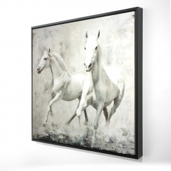 Framed 24 x 24 - 3D - Two white horse running
