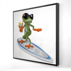 Framed 24 x 24 - 3D - Funny frog surfing