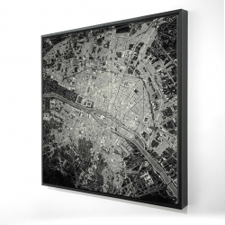 Framed 24 x 24 - 3D - Airplane satellite view