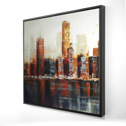 Framed 24 x 24 - 3D - Abstract red cityscape