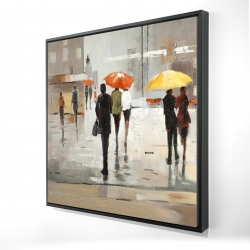 Framed 24 x 24 - 3D - Abstract passersby with umbrellas