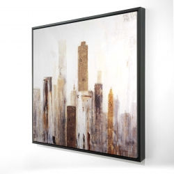Framed 24 x 24 - 3D - Abstract earthy tones city
