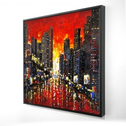 Framed 24 x 24 - 3D - Abstract sunset on the city