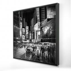 Framed 24 x 24 - 3D - Gray busy city by night