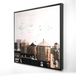 Framed 24 x 24 - 3D - Water towers
