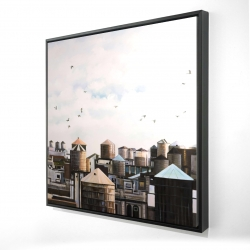 Framed 24 x 24 - 3D - Water towers with birds