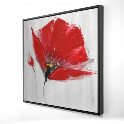 Framed 36 x 36 - 3D - Two red flowers on gray background